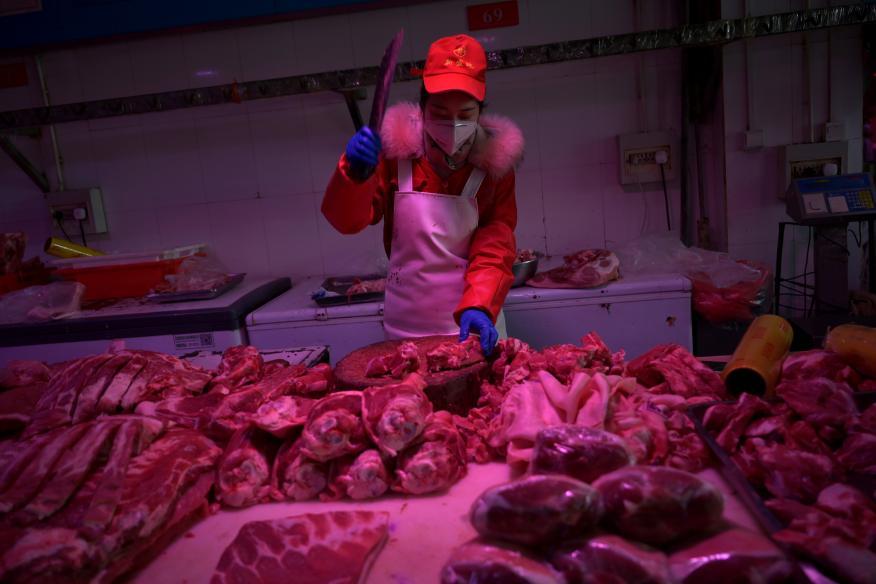 Mercado de carne de Pekín,China.