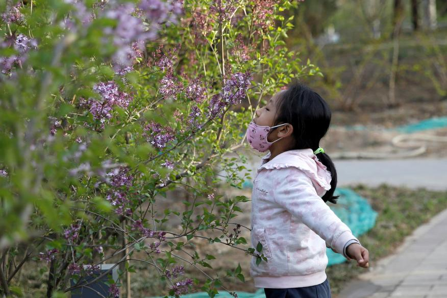 Niña oliendo flores.