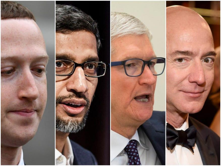 Zuckerberg, Pichai, Cook y Bezos, los CEO de Facebook, Google, Apple y Amazon.