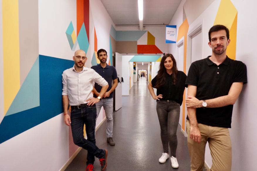 El equipo de Droplite: Rafael Porcar (CTO, esq), João Trabuco, Erica de la Serna, André Guedes (CEO, derecha)