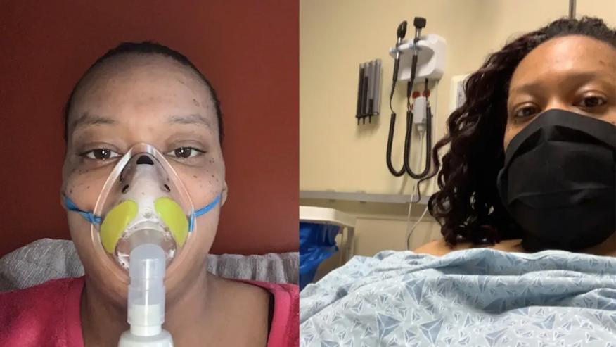 Felecia Jester utilizando una máscara de oxígeno (izquierda) y en la sala de urgencias (derecha).