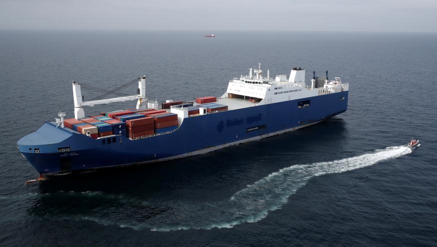Un barco carguero saudí se aproxima al puerto francés de Le Havre
