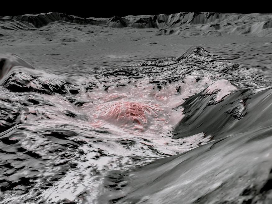 La nave espacial Dawn de la NASA capturó imágenes en longitudes de onda visibles e infrarrojas, que se combinaron para crear esta vista en falso color de la corteza salada en Ceres.