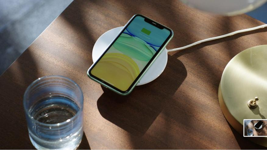 Apple's new wireless charging mat, the MagSafe charger.