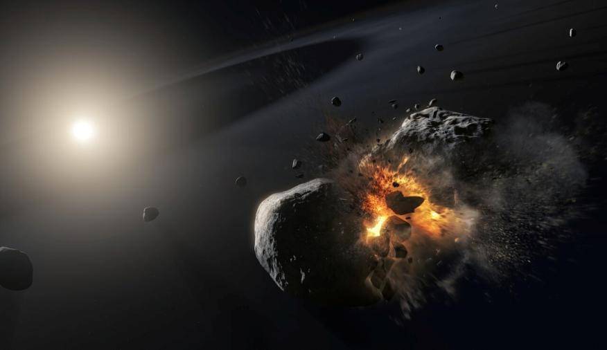 Colisión de asteroides.