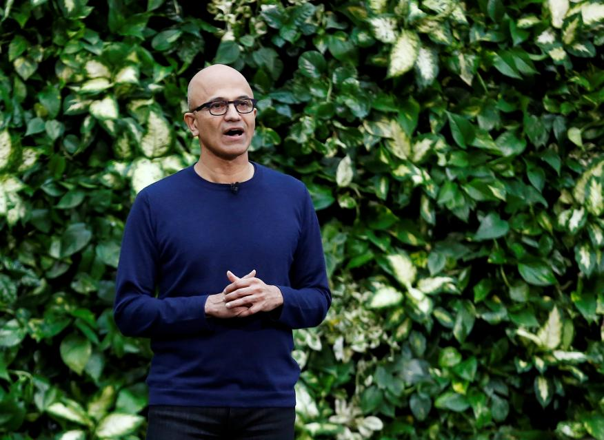 El consejero delegado de Microsoft, Satya Nadella, en un acto en enero de 2020