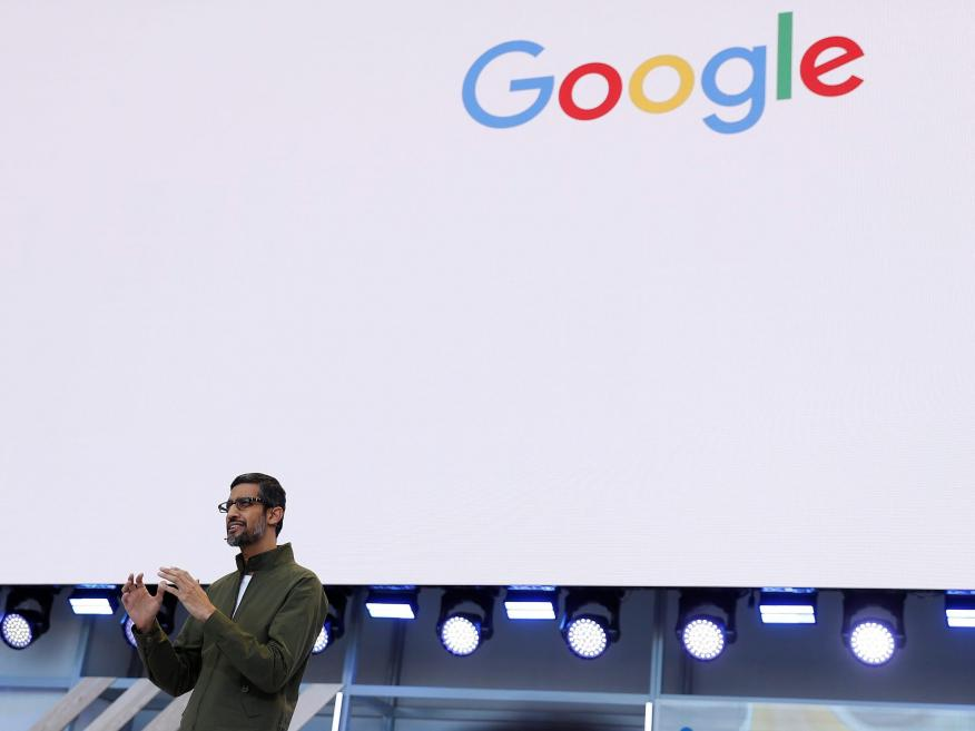 Google CEO Sundar Pichai speaks on stage during the annual Google I/O developers conference in Mountain View, California, in 2018.