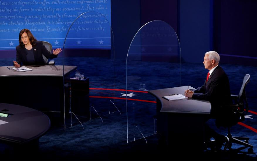 Kamala Harris y Mike Pence, durante el debate de los candidatos a la vicepresidencia de Estados Unidos.