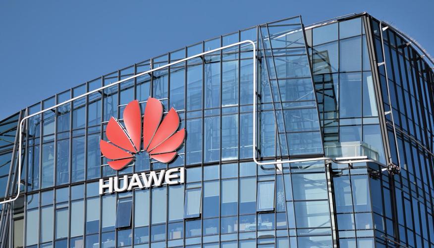 Oficinas y logo Huawei