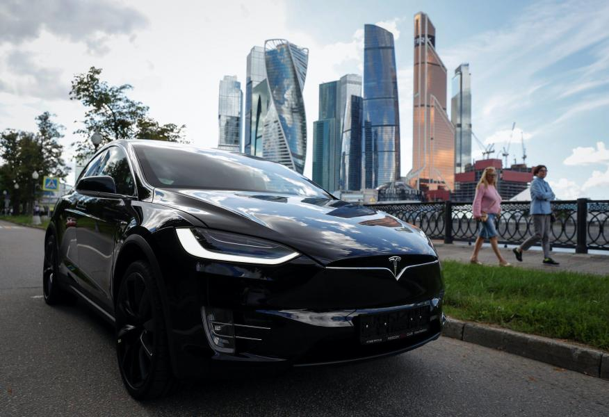 A  Tesla Model X in Moscow.