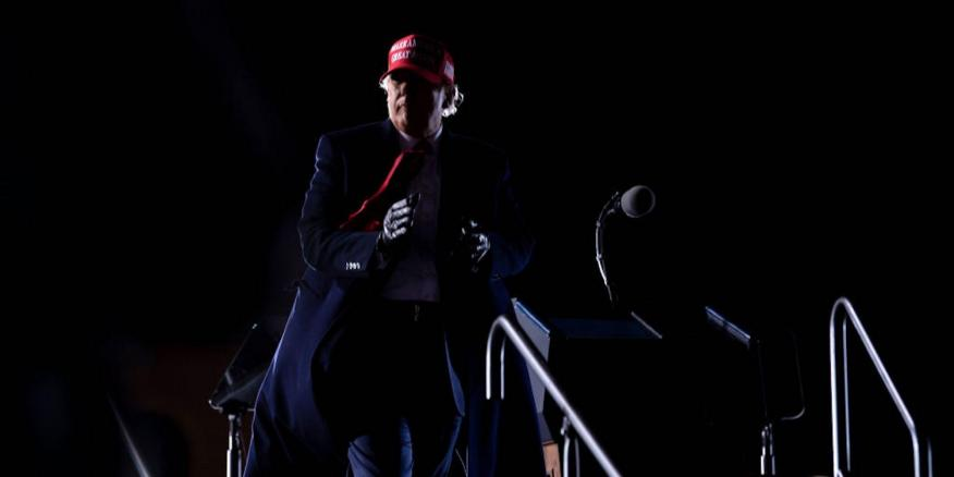 Donald Trump leaves after speaking during a Make America Great Again rally at Hickory Regional Airport in Hickory, North Carolina on November 1, 2020.