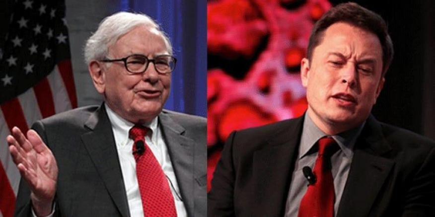 Warren Buffett (left) and Elon Musk (right)