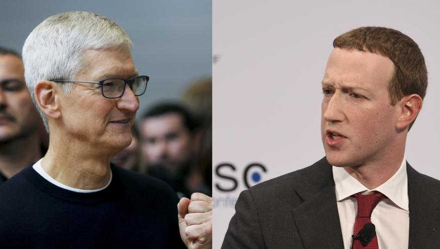 Tim Cook, CEO de Apple, y Mark Zuckerberg, CEO de Facebook.