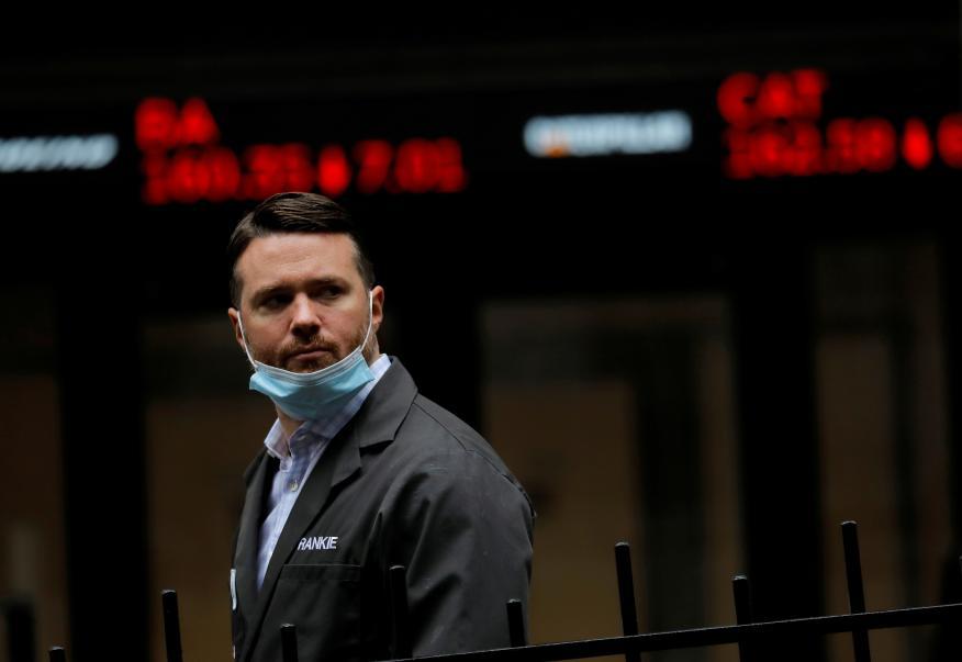 Trader en Wall Street en plena pandemia.