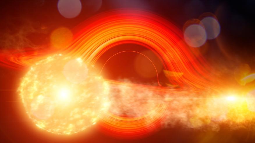 Imagen de la estrella gigante a su paso por el agujero negro supermasivo.