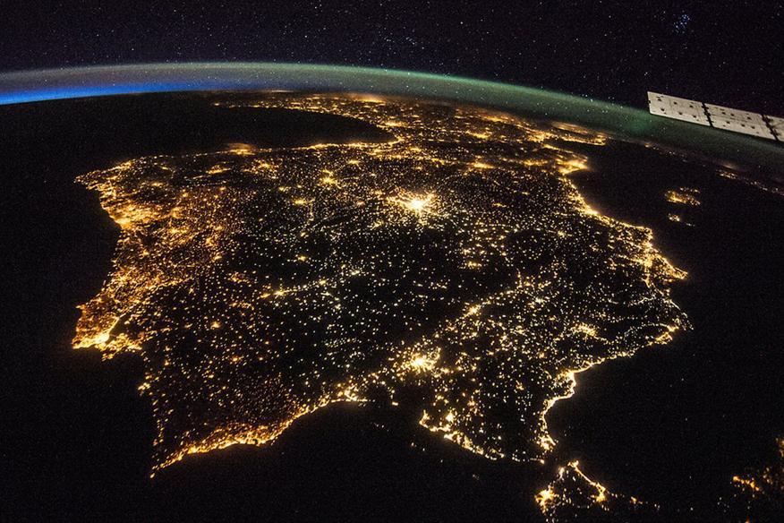 Imagen tomada desde la Estación Espacial Internacional de la Península Ibérica.