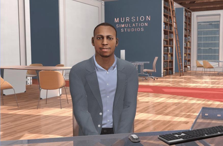 Muestra de interacción a través de la realidad virtual para mejorar la empatía de Mursion.