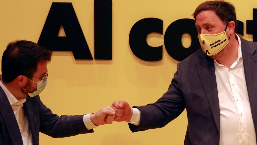 Pere Aragonès y Oriol Junqueras, de ERC.