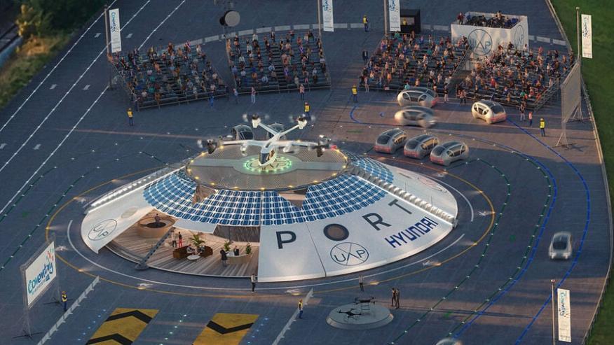 Representación visual del aeropuerto Air One en el centro de Coventry.
