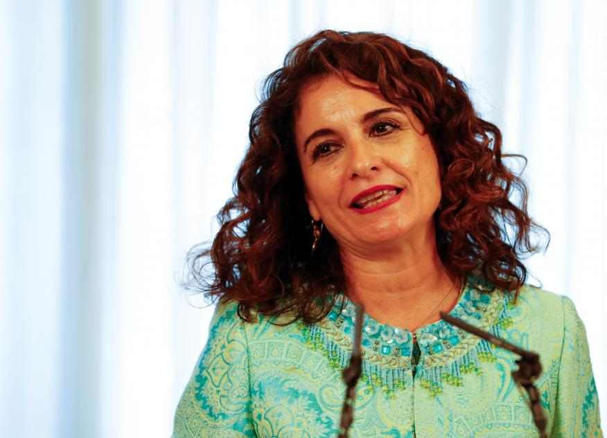 La ministra portavoz del Gobierno, María Jesús Montero, en una rueda de prensa.