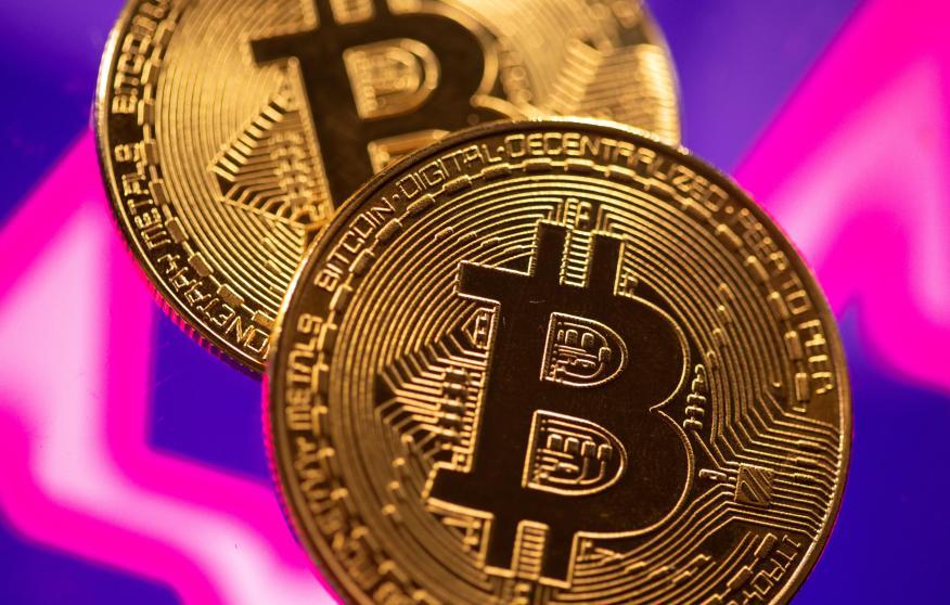 Ilustración de monedas de bitcoin.
