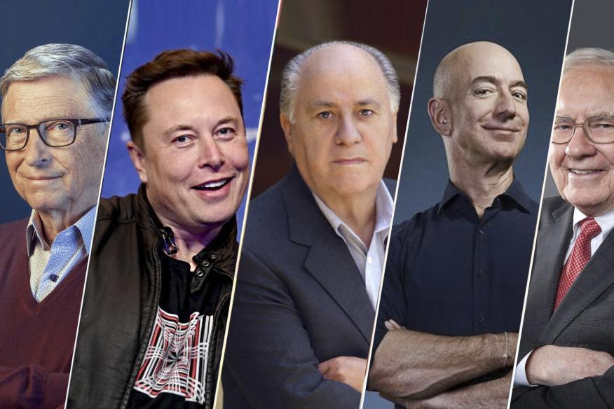 De izq a dcha: Bill Gates, Elon Musk, Amancio Ortega, Jeff Bezos y Warren Buffett