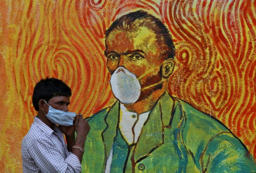 Mural sobre el coronavirus